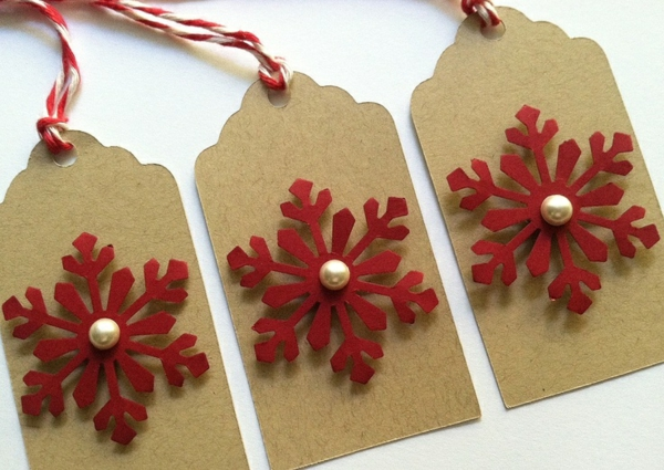 bastelideen für weihnachten weihnachtskarten basteln schneeflöckchen rot