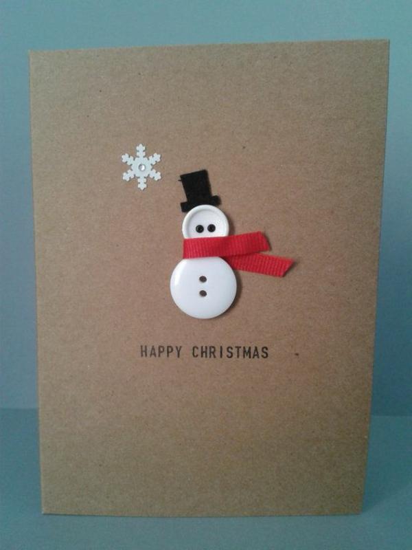 bastelideen für weihnachten weihnachtskarten basteln schneemann aus knöpfen
