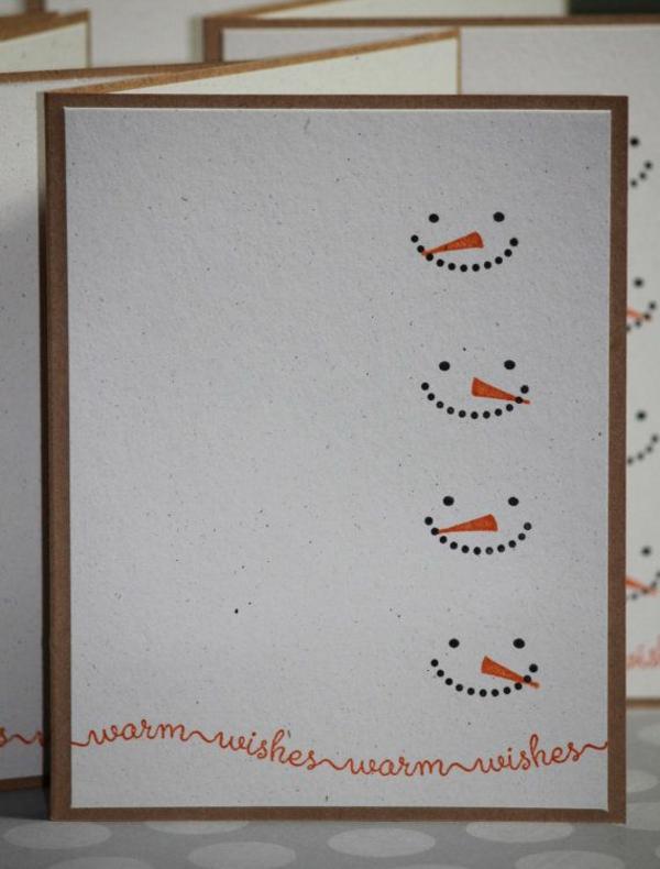 bastelideen für weihnachten weihnachtskarten basteln schneemann gesicht