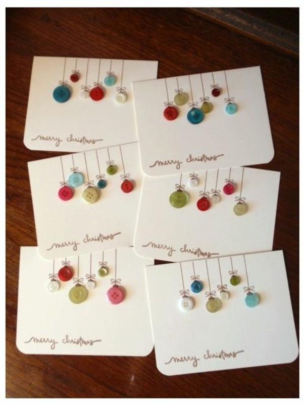 bastelideen für weihnachten weihnachtskarten basteln weihnachtskugeln aus knöpfen