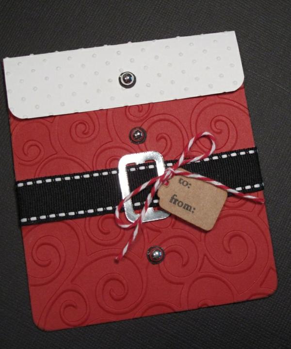 bastelideen für weihnachten weihnachtskarten basteln weihnachtsmann gürtel