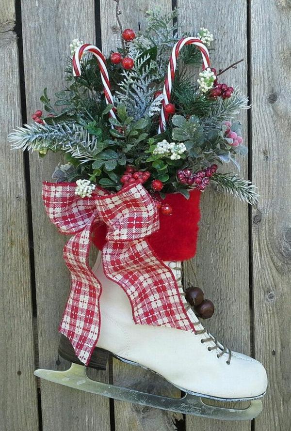 bastelideen weihnachten adventskranz basteln schlittschuh