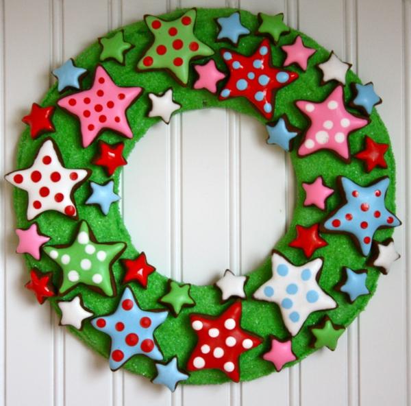 bastelideen weihnachten adventskranz bilder plätzchen sternchen