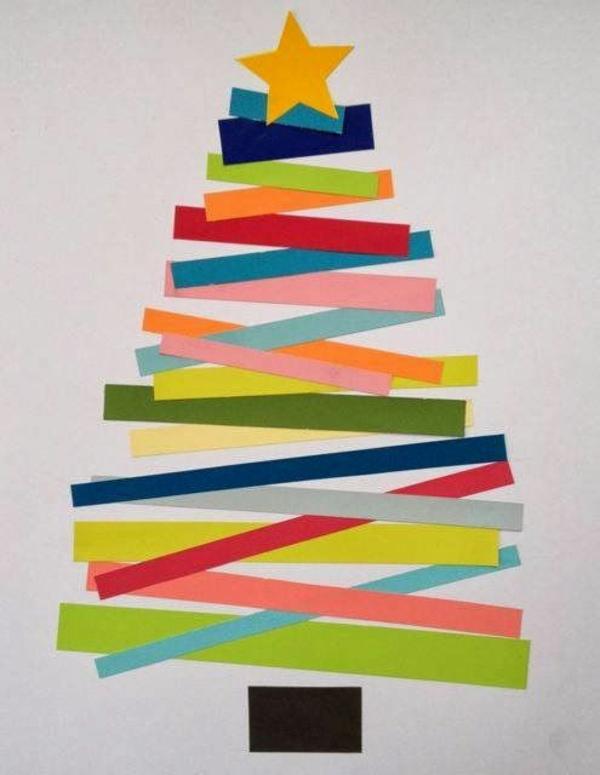 bastelideen weihnachten bunt papier reste