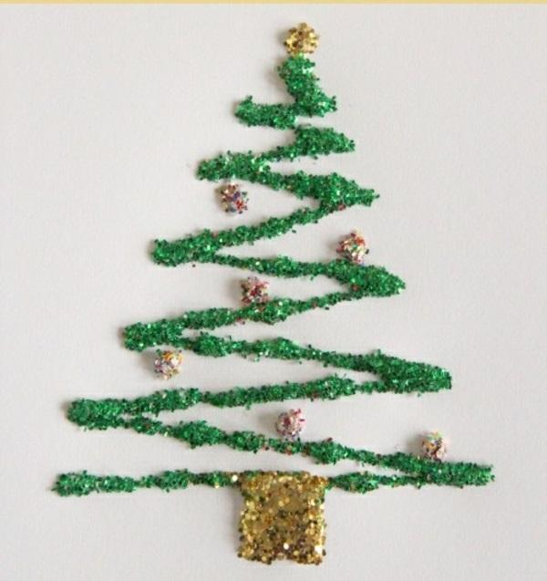 bastelideen weihnachten glitzern tannenbaum grün