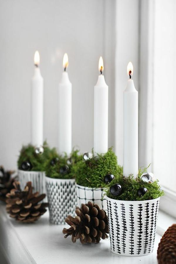bastelideen weihnachten tannenzapfen deko mit kerzen