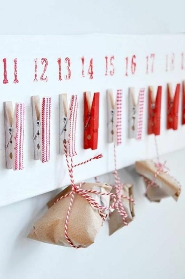 bastelideen weihnachten wäscheklammer adventskalender geschenkideen