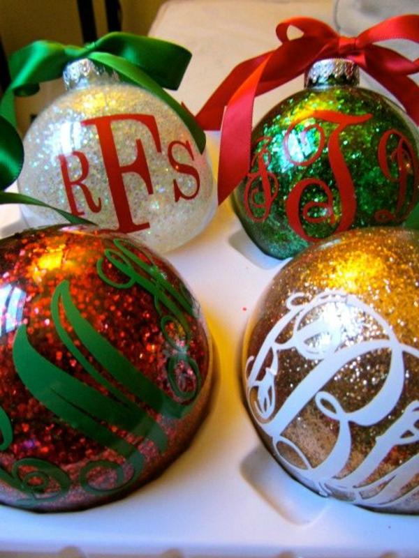 bastelideen weihnachten weihnachtskugeln dekorieren