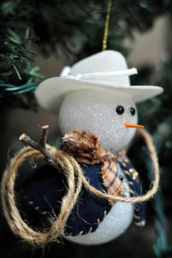 bastelideen weihnachten weihnachtskugeln schneemann basteln
