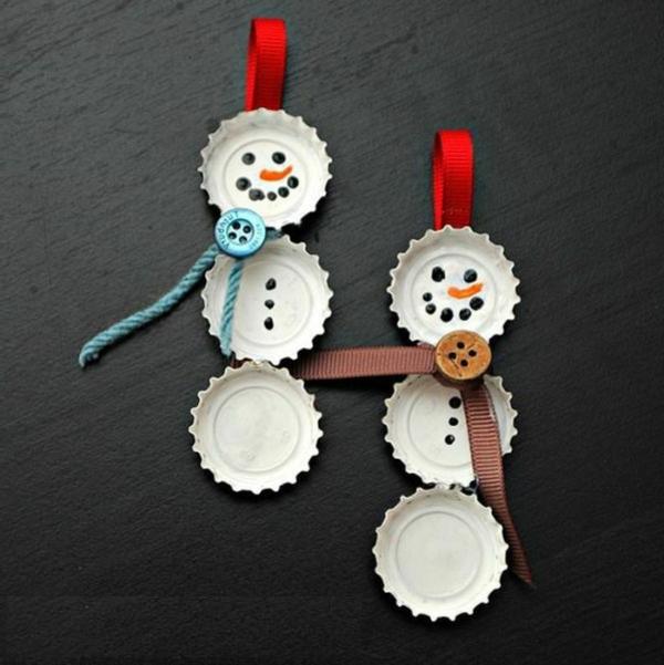 bastelideen zu weihnachten flaschendeckel schneemänner