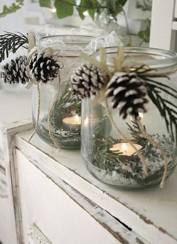 bastelideen zu weihnachten gläser teelichter