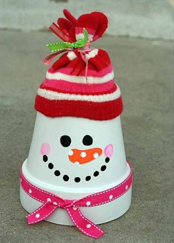bastelideen zu weihnachten keramikübertopf hut