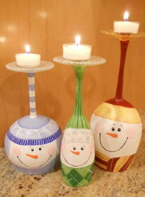 bastelideen zu weihnachten kerzenständer gläser