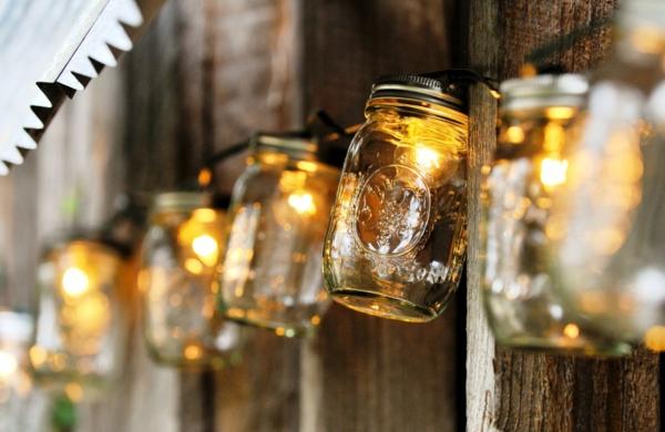bastelideen zu weihnachten lichterkette gläser