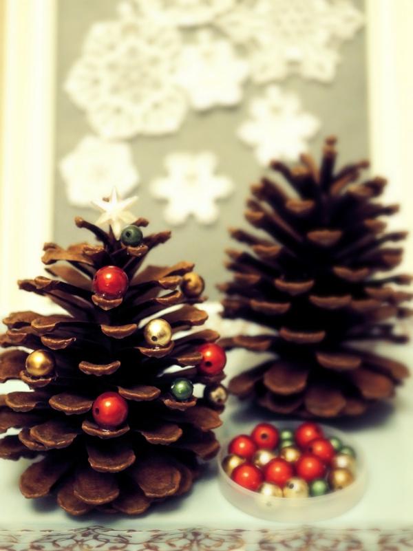 bastelideen zu weihnachten mini christbäume