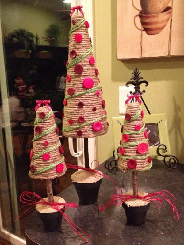 bastelideen weihnachten weihnachtsbäume knöpfe