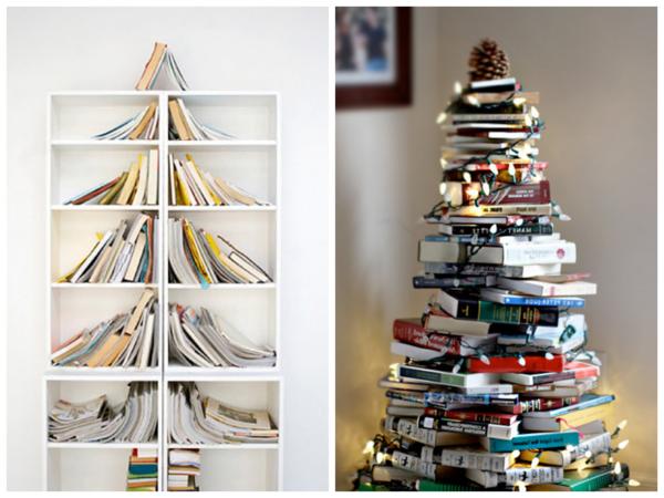 bastelideen zu weihnachten weihnachtsbaum bücher