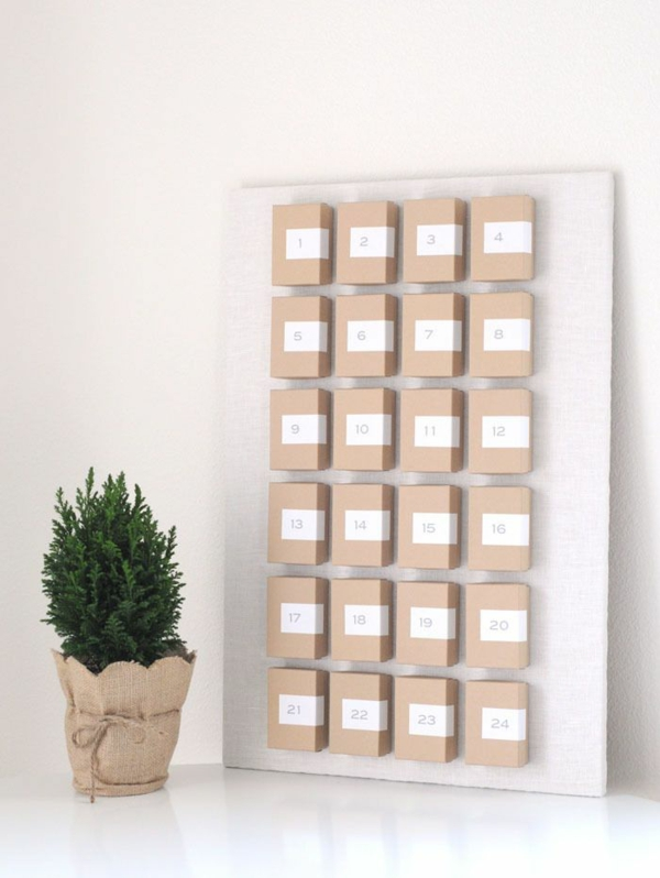 basteln mit papier adventskalender selbst gestalten rustikal