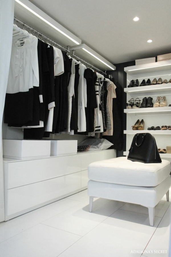 ideen ankleidezimmer begehbarer kleiderschrank polstermöbel