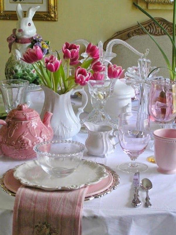 blumen arrangieren tischdeko ideen mit tulpen osterhase