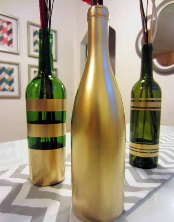 diy ideen bastelideen blumenvase glasflaschen grün goldpapier