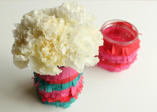 diy ideen bastelideen farbpapier vase einweckglas nelken