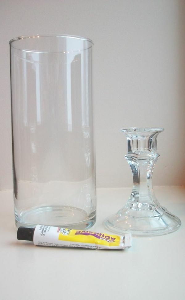 diy ideen bastelideen glas ständer klebstoff