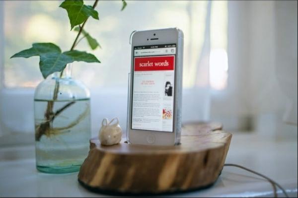 diy ideen bastelideen iphone baumstumpf ständer bastelltipps