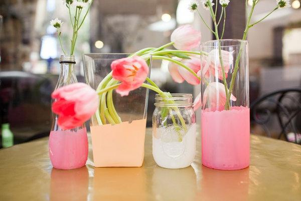 diy ideen bastelideen pastellfarben vasen gläser rosa tulpen