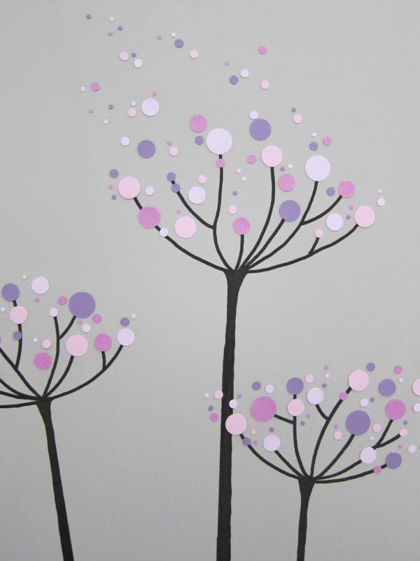 diy lila farben moderne Leinwandbilder baumkrone