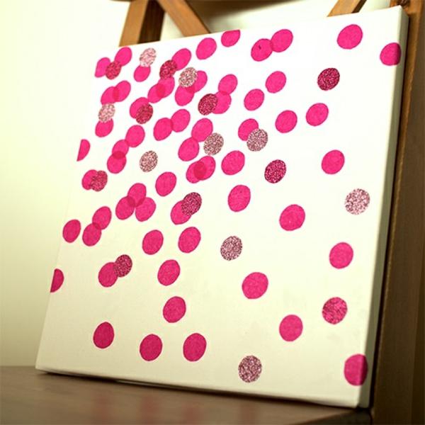 Leinwandbilder punkten rosa diy moderne
