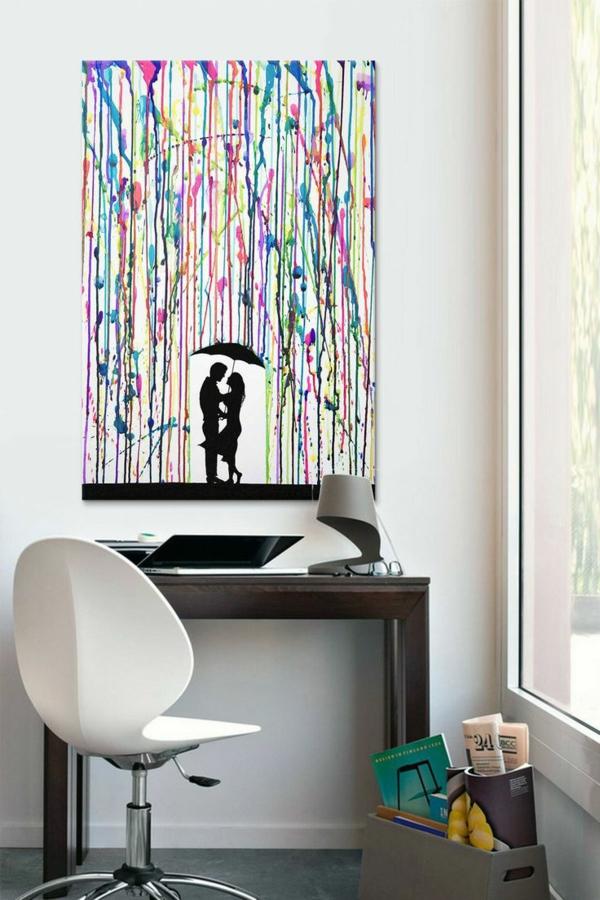 diy moderne Leinwandbilder regen liebespaar