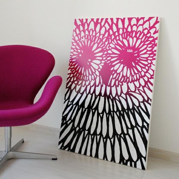 eule diy moderne Leinwandbilder rosa schwarz