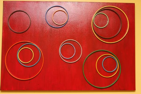 diy moderne Leinwandbilder rot kreise
