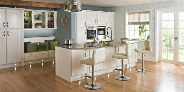 einbauküchen essbereich barhocker weiß leder