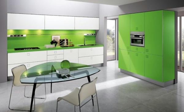 einbauküchen glastisch neon