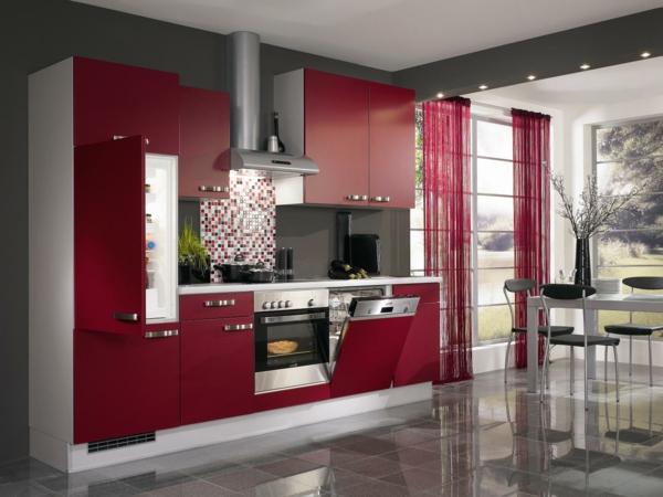 einbauküchen rote fronten