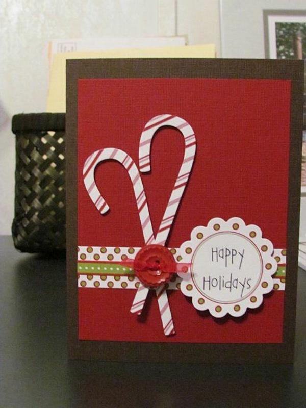 einfache weihnachtskarten basteln rot zuckerstangen knöpfe