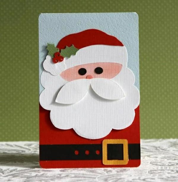 einfache rot kostüm weihnachtskarten basteln weihnachtsmann