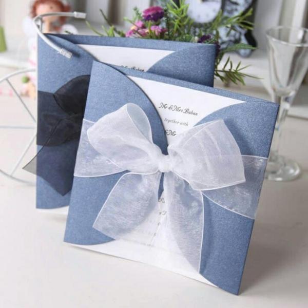 Einladungskarten Hochzeit Geburtstag Blau Schleife