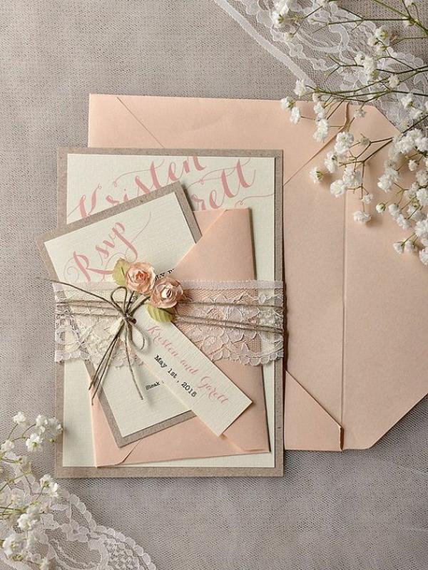 Schön Einladungskarten Mit Blumen Hochzeit Geburtstag Pfirsich