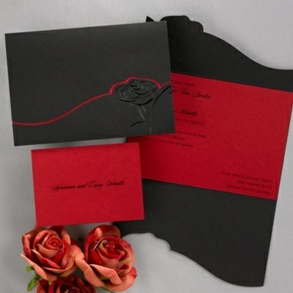 einladungskarten blumen hochzeit geburtstag schwarz rot