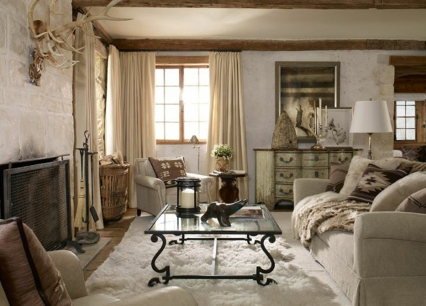 einrichtung wohnzimmer rustikal wohnzimmermöbel fellteppich
