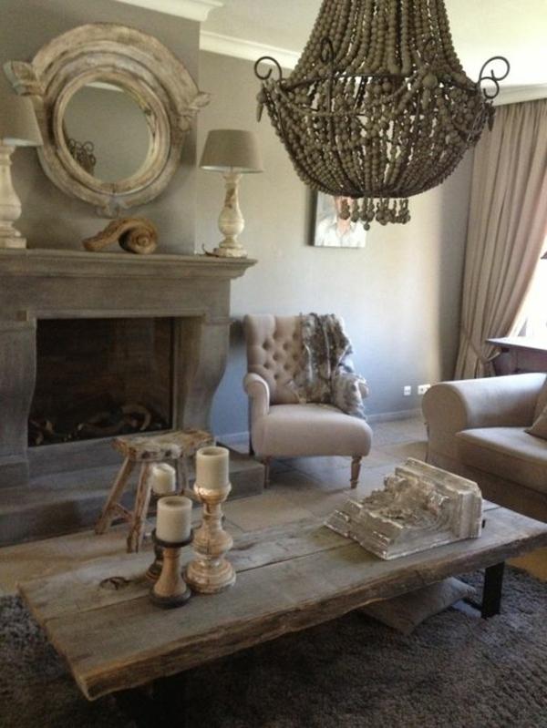 einrichtungsideen wohnzimmer rustikal wohnzimmermöbel couchtisch massivholz