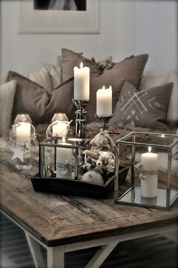 einrichtungsideen wohnzimmer rustikal wohnzimmermöbel deko mit kerzen