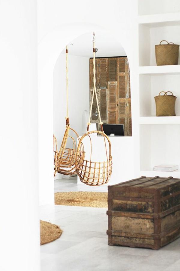 einrichtungsideen wohnzimmer rustikal wohnzimmermöbel hängekorbsessel