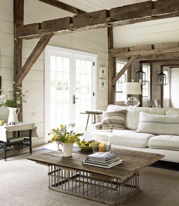 einrichtungsideen wohnzimmer rustikal wohnzimmermöbel holz couchtisch