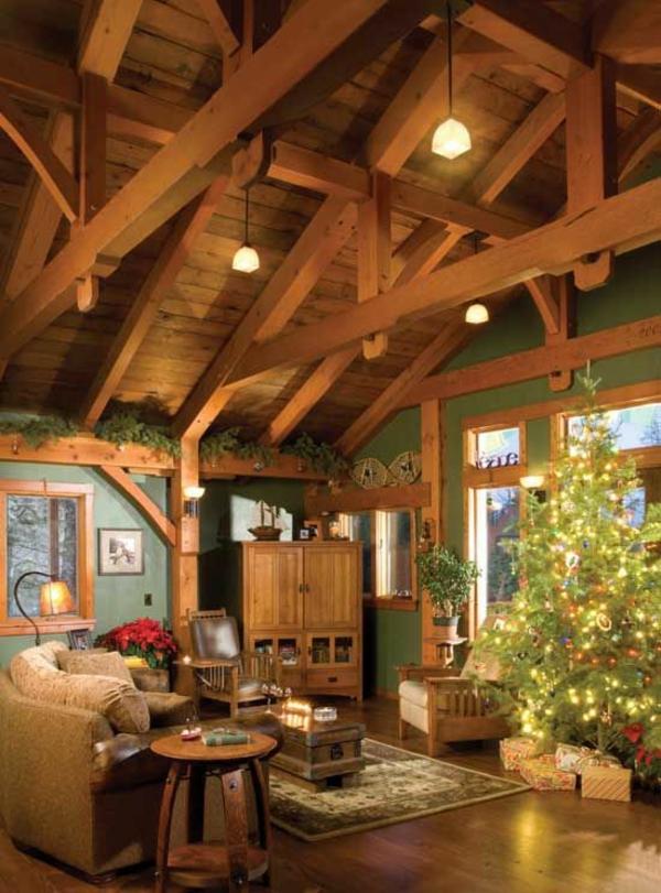 Einrichtungsideen Wohnzimmer Rustikal Wohnzimmermbel Holzdecke Wandfarbe Grn