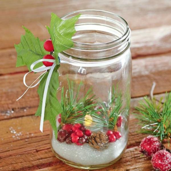 einweckglas teelichter weihnachtsbastelideen weihnachtsdekoration basteln