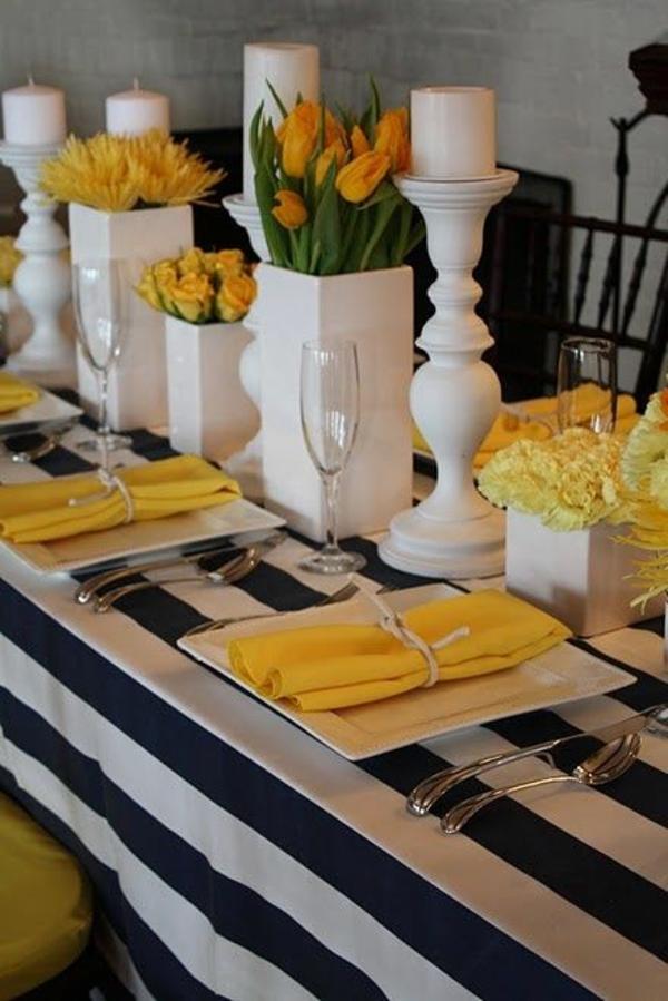 elegante tischdeko mit tulpen blumen arrangierentischdeko ideen in gelb